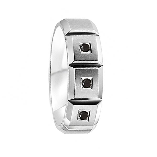 Brushed Cobalt Wedding Ring Horizontal Grooves with Sapphires by Crown Ring - 7mm