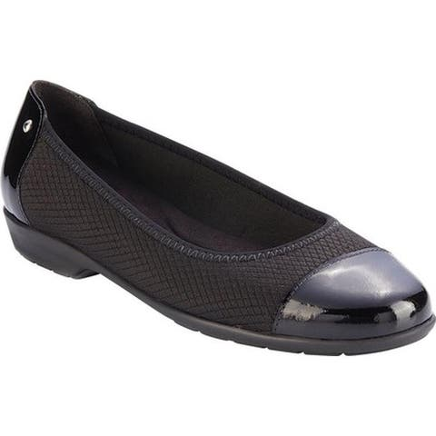 Walking Cradles Women's Felicity Cap Toe Flat Black Textile