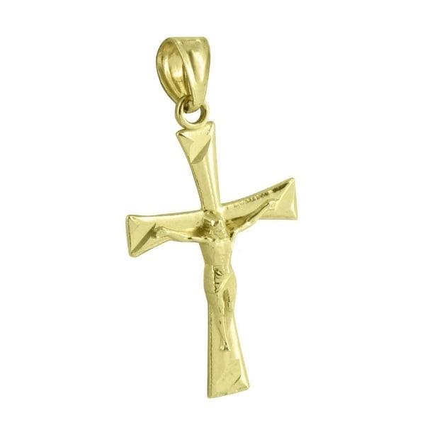 Jesus Crucifix Pendant Cross Charm 10K Yellow Gold 1.1 Inch Christ