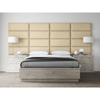 """VANT Upholstered Headboards - Accent Wall Panels - Packs Of 4 - Textured Cotton Weave Toasted Wheat - 30"""" Wide x 11.5"""" Height."""