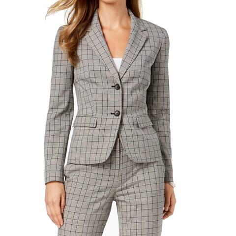 Nine West Women's Blazer Black Gray Size 6 Two-Button Glen Plaid