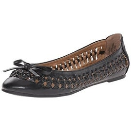 Madden Girl Womens Callyyyy Faux Leather Knot-Side Ballet Flats - 7