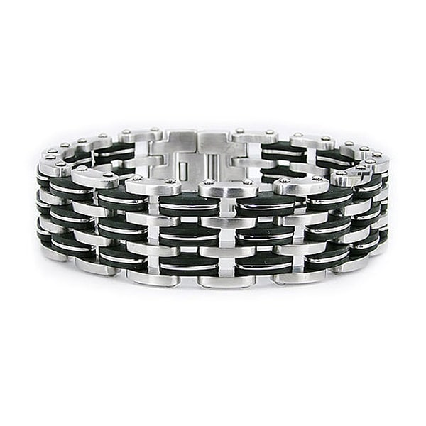 Stainless Steel Men's Black Rubber Link Bracelet 8.5 Inches