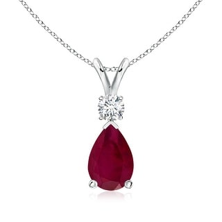 Angara Pear Ruby Teardrop Pendant Necklace with Diamond - Red