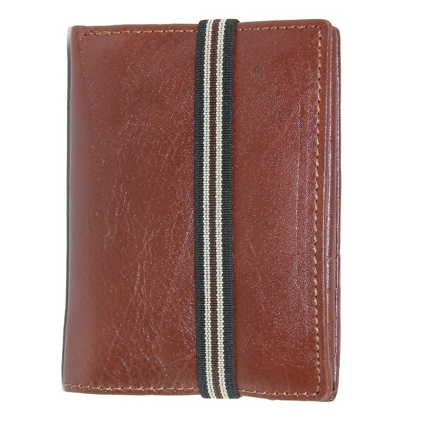 CTM® Men's Leather Bifold Wallet with Exterior Elastic Band - One size