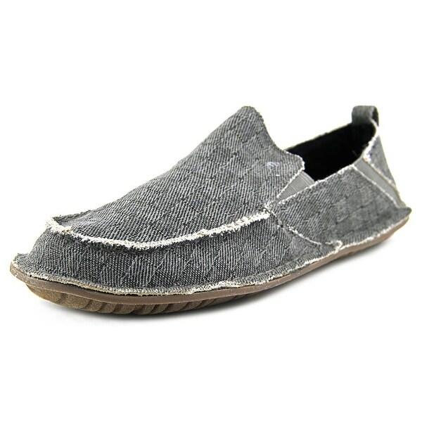 Crevo Rasta Men Round Toe Canvas Gray Loafer