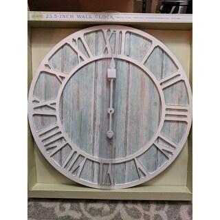 The Gray Barn Cocklebur 23.5-inch Round Blue Quartz Coastal Wall Clock
