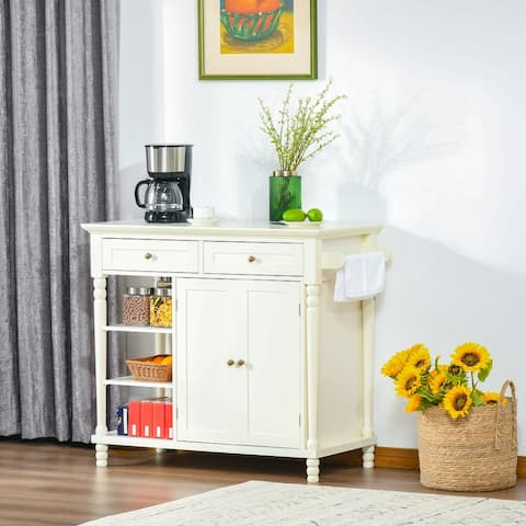 HOMCOM Kitchen Sideboard Cabinet with 3-Tier Open Shelving, Buffet Storage Cabinet with Pine Wood Legs Adjustable Shelf, White
