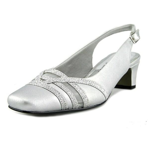 Easy Spirit Kristen Women Square Toe Canvas Silver Heels