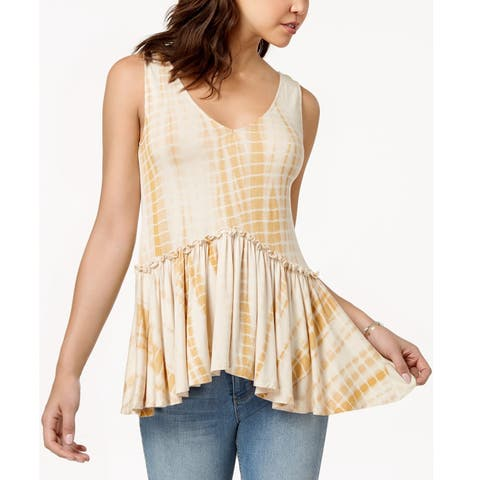 American Rag Juniors Lace Up Peplum Top Egret Size Large - Yellow