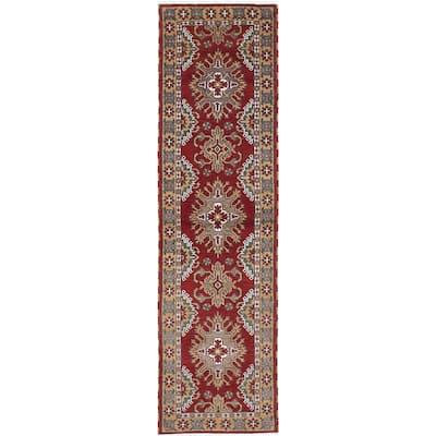 ECARPETGALLERY Hand-knotted Royal Kazak Red Wool Rug - 2'9 x 9'10