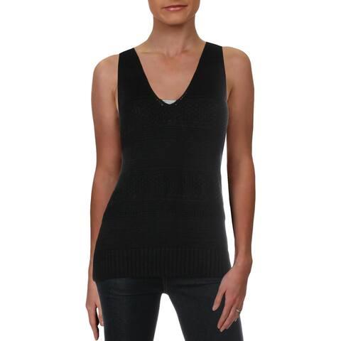 Lauren Ralph Lauren Womens Tank Top Sweater Linen V-Neck