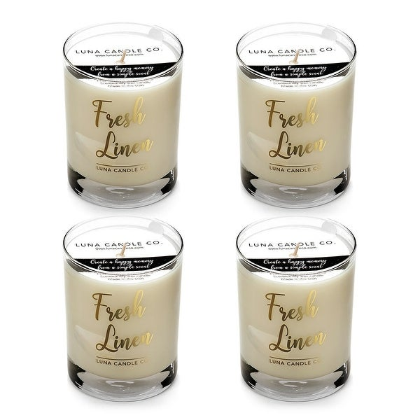 Fresh Linen Natural Soy Candle, Clean Slow Burn, Low Smoke (4 Pack)
