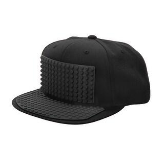 Bricky Blocks Build-on Baseball Costume Black Hat Unisize