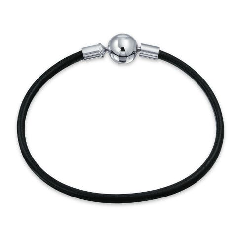 Black Leather Starter Charm Beads Bracelet 925 Sterling Silver Round