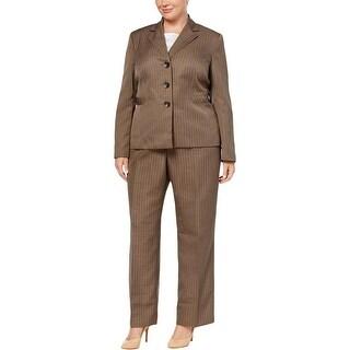 Le Suit Womens Plus Three-Button Suit Jacket Stripe Work Wear