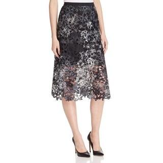 Elie Tahari Womens Tayla A-Line Skirt Printed Lace Overlay