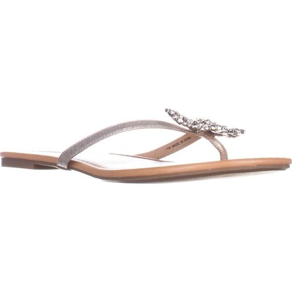 I35 Maregoald Butterfly-Embellished Flats Sandals, Champagne