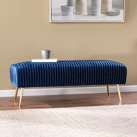Silver Orchid Delco Contemporary Blue Fabric Bench