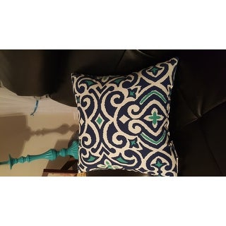 Pillow Perfect Decorative Blue and White Damask Square Throw Pillow
