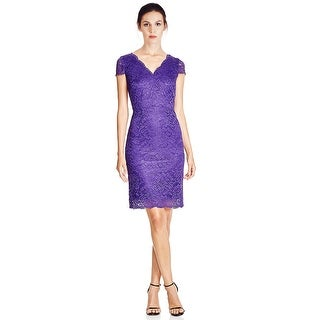 Laundry by Shelli Segal Cutout Back Lace Cap Sleeve Cocktail Dress - 14