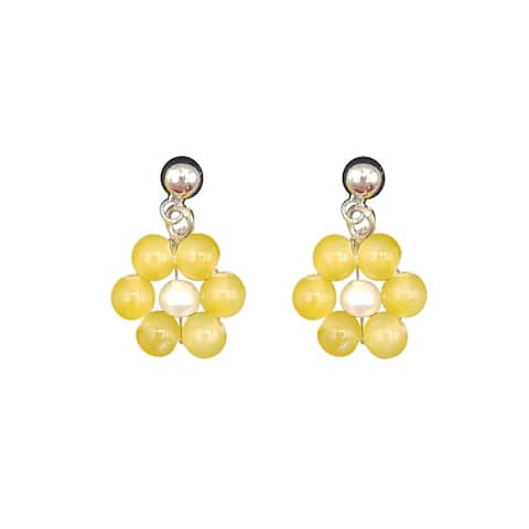 Daisy Earrings made of Yellow Jade and White Pearl on Gold Ball Studs