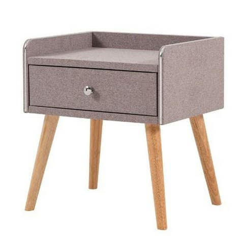 1 Drawer Wooden Nightstand with Raised Top, Gray and Brown