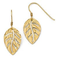 Italian Sterling Silver Gold-tone Leaf Shepherd Hook Earrings