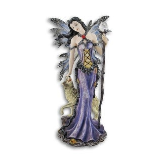 Gothic Butterfly Winged Winter Fairy w/ Wolf Statue - 9.25 X 4.75 X 3.25 inches