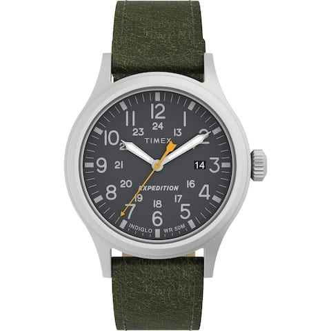 Timex Men's Expedition Scout 40mm Watch - Silver-Tone Case Black Dial with Green Leather Strap