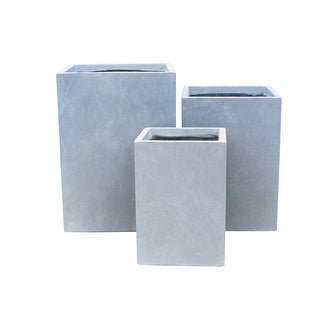 Link to Kante Lightweight Concrete Tall Square Outdoor Planter, Set of 3, 19 Inch Tall, Slate Gray Similar Items in Planters, Hangers & Stands