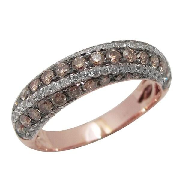 Brand New 1.18 Carat Natural Brown & White Diamond Wedding Band Ring, 14k Rose Gold