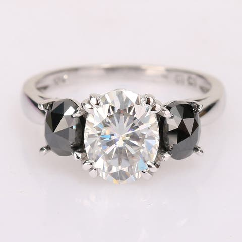 Miadora 10k White Gold Oval-cut Created Moissanite and 1ct TDW Black Diamond 3-Stone Engagement Ring