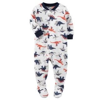 Carter's Little Boys' 1 Piece Dinosaur Fleece Pajamas, 2-Toddler