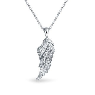 .925 Sterling Silver CZ Angel Wing Feather Pendant Necklace 16 Inches