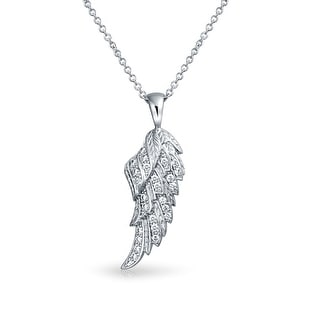 Guardian Angel Wing Protection Pave Cubic Zirconia CZ 925 Sterling Silver Dangling Pendant Necklace For Women For Teen