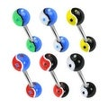 Surgical Steel Barbell with Assorted Colored UV Ying Yang Balls (Sold Individually) - Thumbnail 0