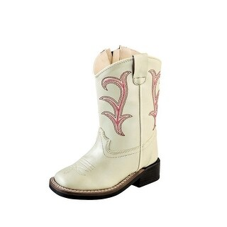 Old West Cowboy Boots Girls Kid Square Toe Side Zip Shine White VB1030