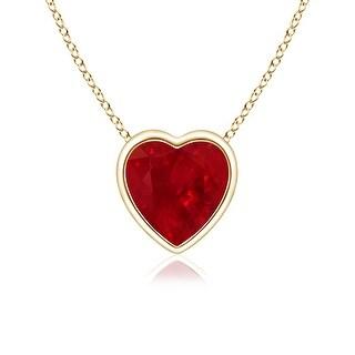 Angara Bezel Set Solitaire Heart Shaped Ruby Pendant