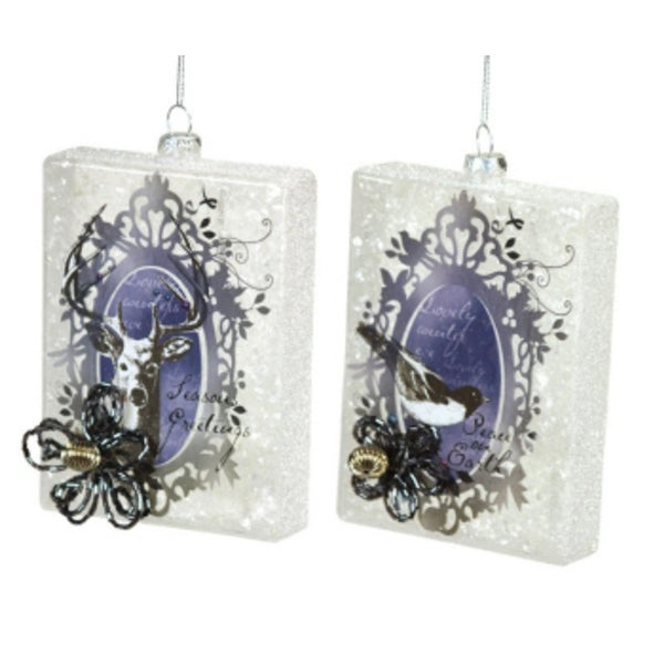"""Pack of 6 Blue and White Deer & Bird w/Beaded Bow Glass Christmas Ornaments 5"""""""