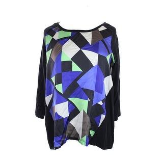 Alfani Black Multi Long-Sleeve Geo-Print-Panel Sweater M