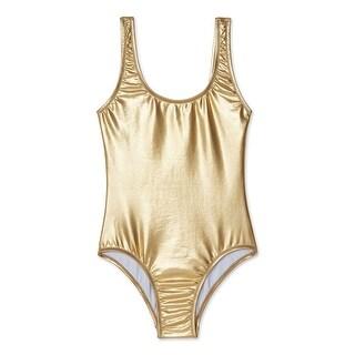 Stella Cove Girls Gold Metallic Shine Mermaid One Piece Swimsuit