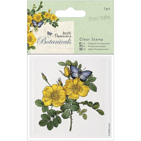 """Papermania Botanicals Clear Stamps 3""""X3""""-Wild Rose"""