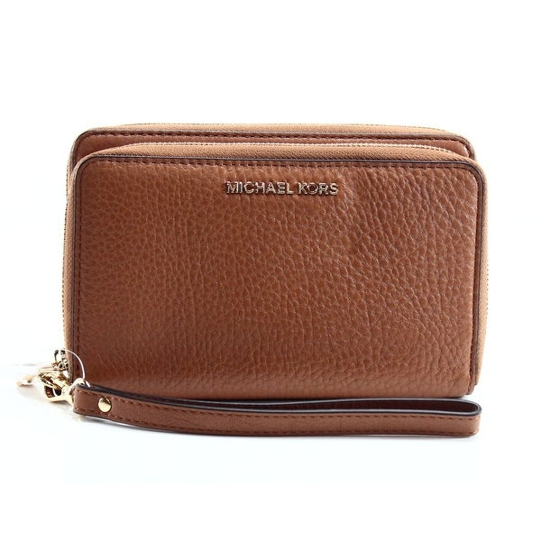 Michael Kors NEW Brown Acorn Flat Phone Adele Leather Wristlet Wallet
