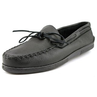 Minnetonka Moosehide Men Moc Toe Leather Black Moccasins