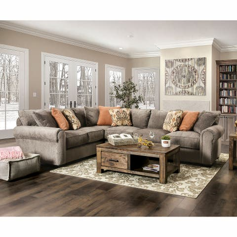 Furniture of America Malbo Transitional Nailhead Trim Sectional