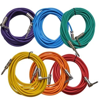 Seismic Audio 6 Pack of Colored 20 Foot Right Angle to Straight Guitar Instrument Cables