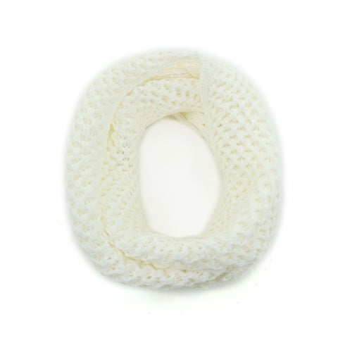 Unisex Winter Wearing Hollow Out Knitted Circle Scarf Yellow
