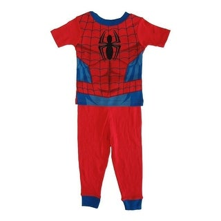 Marvel Little Toddler Boys Red Spiderman Cotton Short Sleeve 2 Pc Pajama