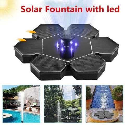 Mini LED Solar Fountain Solar Water Fountain with LED Light for Pond Small Pool Garden Decoration